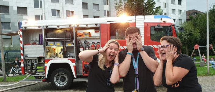 Feuerwehrübung im Zentrum St. Michael (Eliane Luternauer, Thomas Lustenberger und Pädy Renggli)
