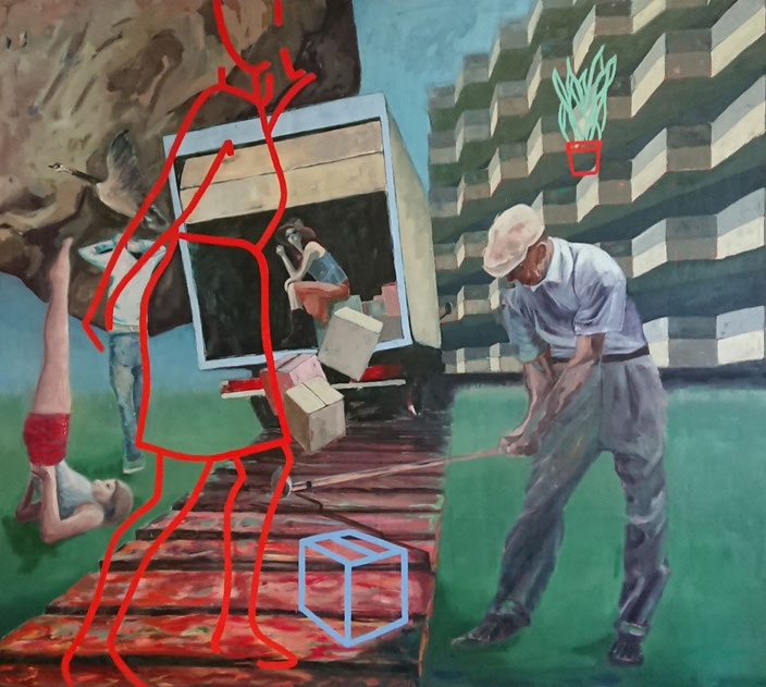 mooi groot golf rock surrealism figurative goed yoga doos grafisch surreal golfer building interieur vakmanschap Morocco emoji friends thee gym tiles tegels trechters jojo schilderkunst rots vrachtwagen truck golf golfer yoga kaarsstand building boxes