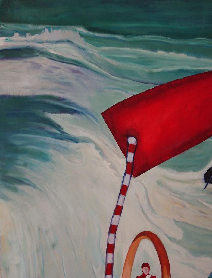oilpainting  xl ring ocean sea sky clouds drum drummer powerwalk rock hike cards game surf surfer f acrobatics circus schilderij man interieur aanschaffen kunstkopen kopen kunst handen claireobscure bouwvakker pak mooi groot goed vakmanschap schilderkunst