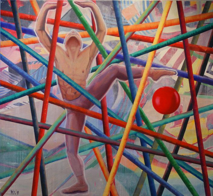 oilpainting  xl maze doolhof labyrinth stokken game danser maledancer ballet pointes acrobatics circus schilderij man interieur aanschaffen kunstkopen kopen kunst handen claireobscure bouwvakker pak mooi groot goed vakmanschap schilderkunst