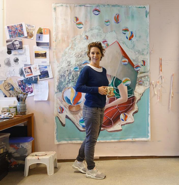 Dance girl culrs grotten glas in lood peace beautiful artist gallery collector art oilpaint artist atelier