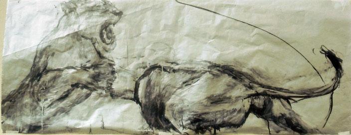 Acrylique et encre de Chine sur papier, 125x50 cm,  Collection Ministère de la culture de Luxembourg
