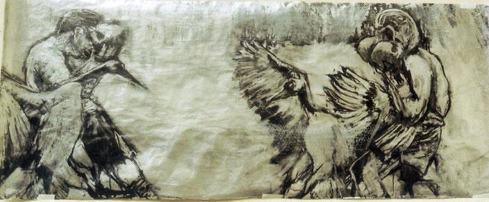 Acrylique et encre de Chine, 125x50 cm, collection de l'auteur
