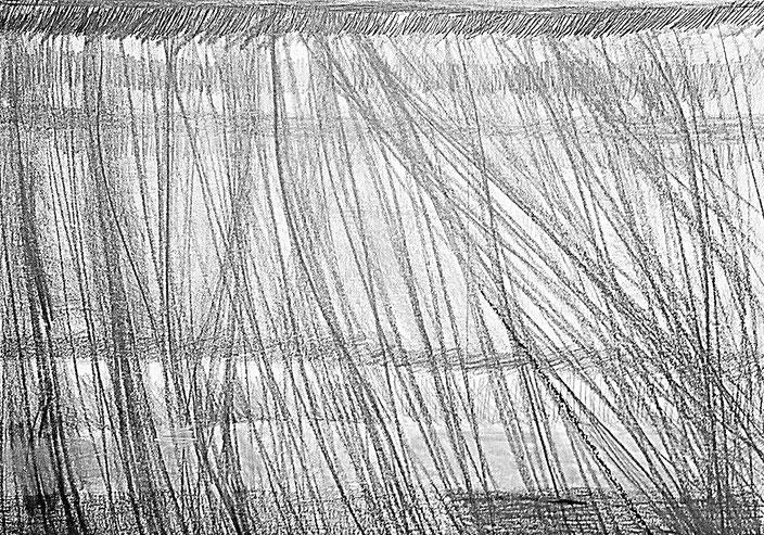 crayon graphite, pierre noire, pastel gras, sur papier