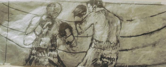 Acrylique et encre de Chine sur papier,125x50 cm, collection de l'auteur