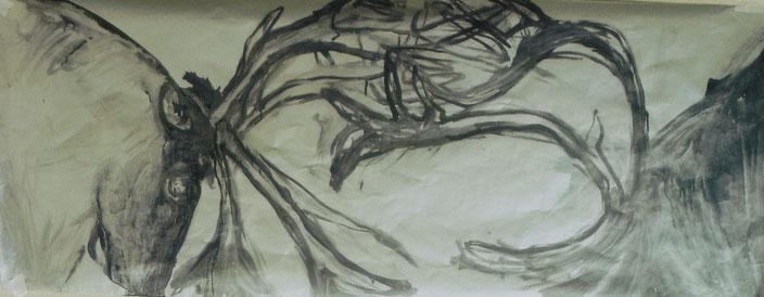 Acrylique et encre de Chine sur papier, 125x50 cm
