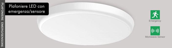 Plafoniere LED con sensore emergenza Nauled