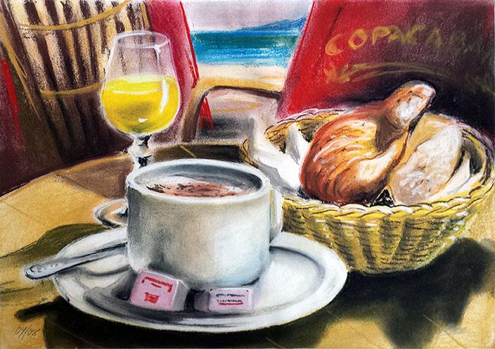 Wandbild Stilleben - Frühstück am Meer, Poster, Leinwandbild, Kunstdruck