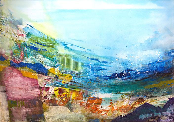 Another Day in Paradies, #Eitempera #Jopie #Bopp #Wasser #abstrakt #Abstraktemalerei