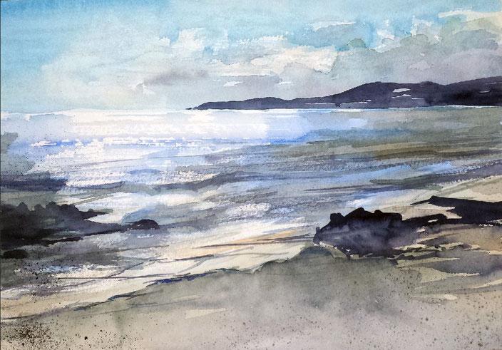 Landschaftsaquarell Strand Küste Morgenfrische Südfrankreich gemalt von Jopie Bopp