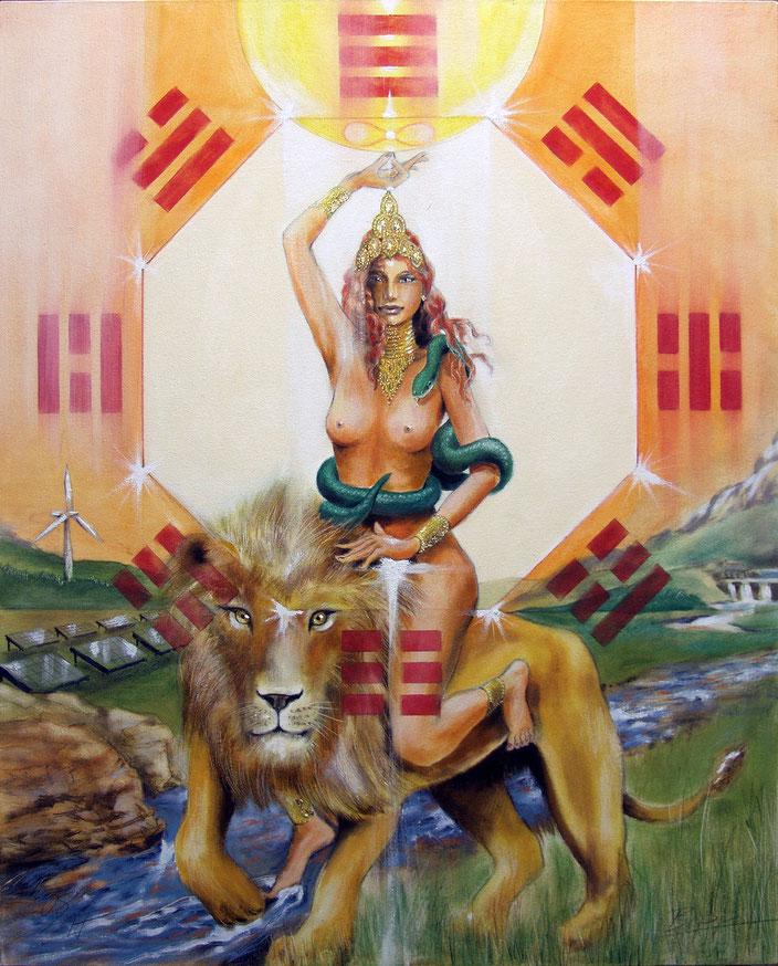 Tarotkarte Die Kraft, gemalt von Jopie Bopp / Sakis-Tarot