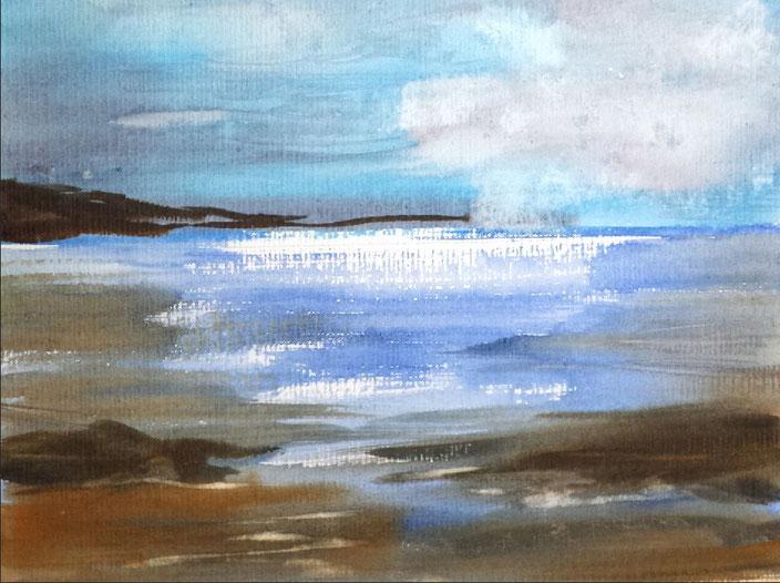 Landschaftsaquarell Strand Küste gemalt von Jopie Bopp