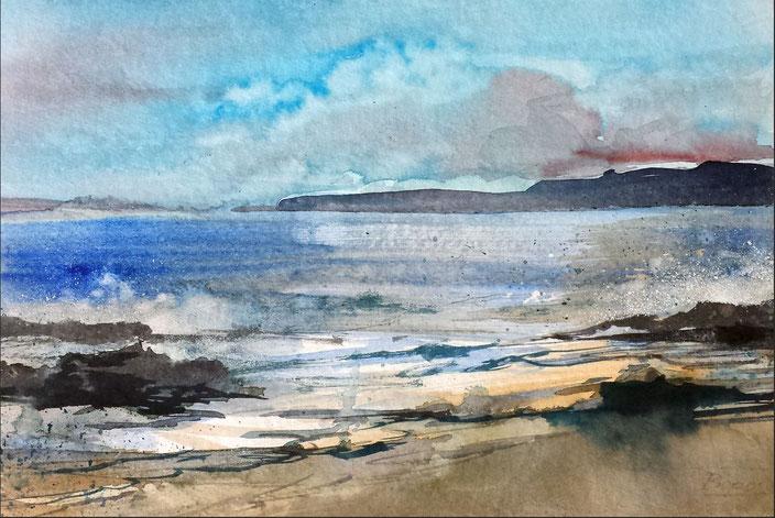 Landschaftsaquarell Strand Küste Urlaub Südfrankreich gemalt von Jopie Bopp