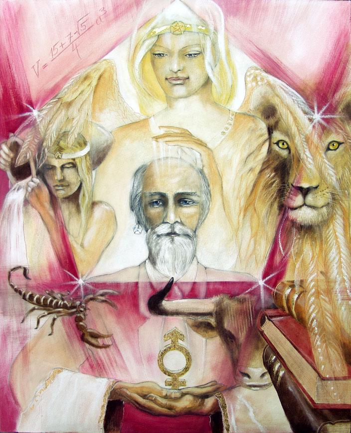 Der Hohepriester, Sakis-Tarot, gemalt von Jopie Bopp, Leinwandbild, Kunstdruck, Poster
