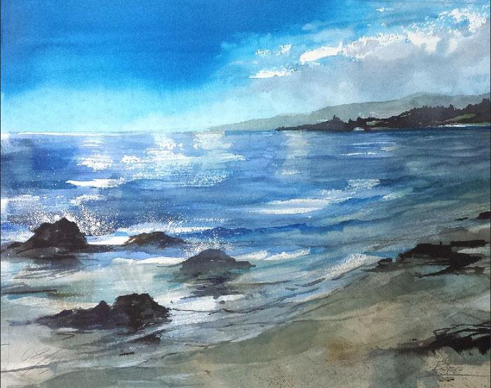 Landschaftsaquarell Strand Küste Urlaub Südfrankreich, Sommerwind gemalt von Jopie Bopp