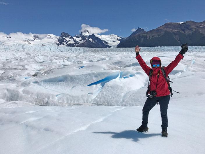 """Ziel der Wanderung, die """"Mitte"""" der Gletscherzunge. Es ist nicht mehr weit bis zur chilenischen Grenze."""
