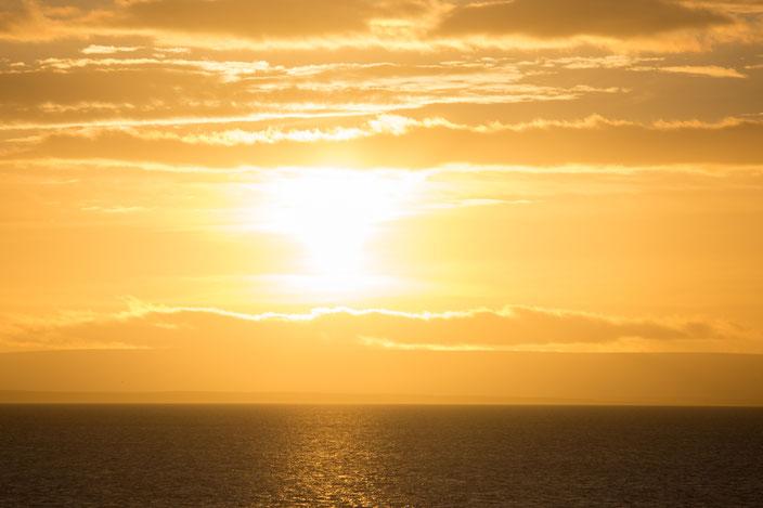 Sonnenaufgang auf der Stella Australis, Höhe Punta Arenas