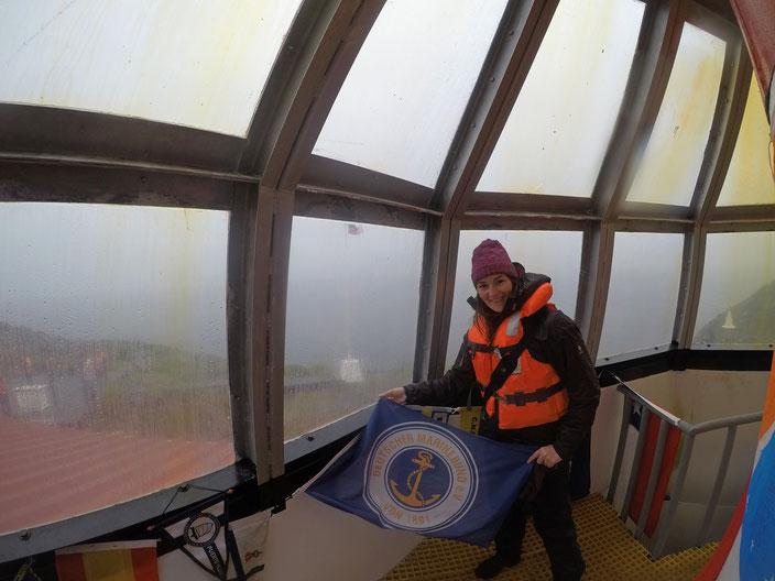 Fahne des Deutschen Marinebundes im Leuchtturm von Kap Hoorn.
