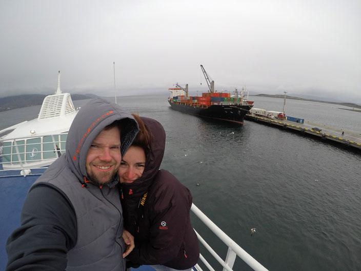 Ausfahrt aus dem Hafen von Ushuaia.