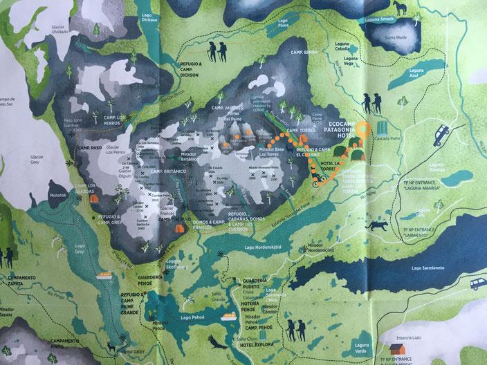 Kartenquelle Las Torres Trail: www.ecocamp.travel