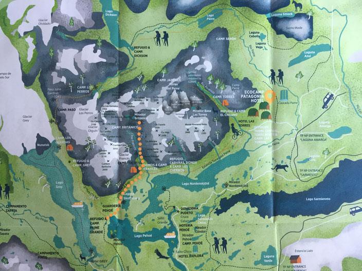 Kartenquelle Valle Francés Trail: www.ecocamp.travel