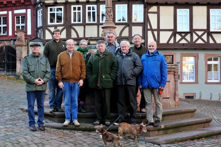 Exkursionsgruppe vor dem Stadtbrunnen in Miltenberg