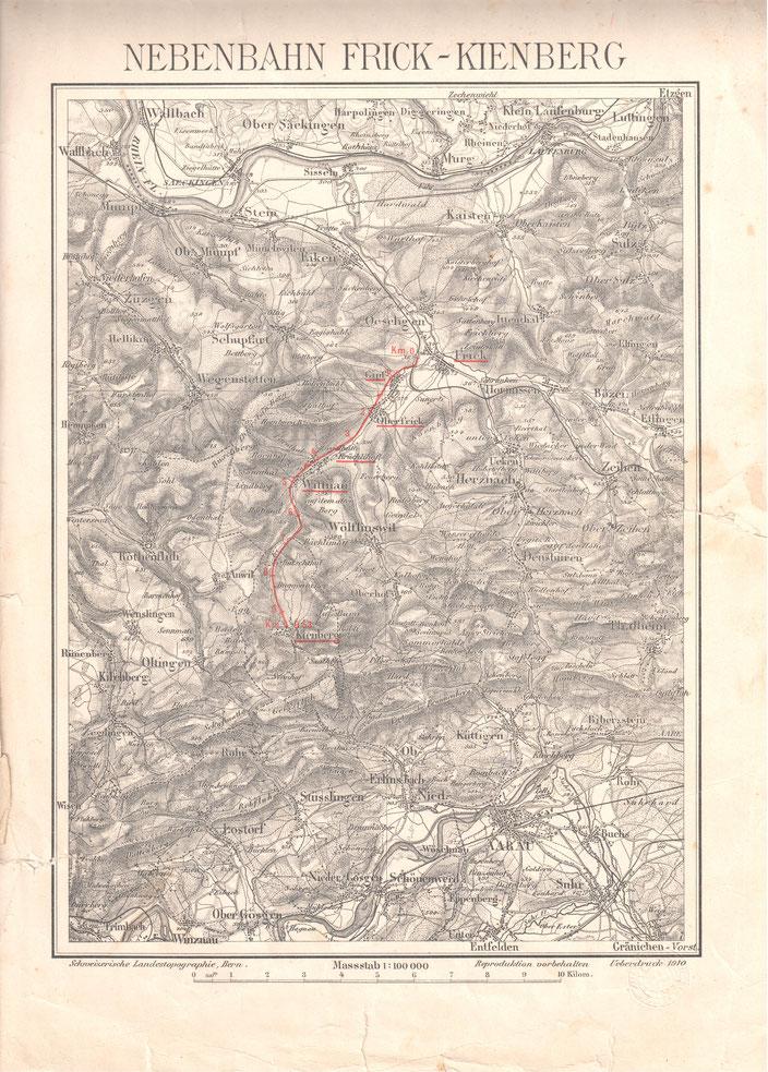 Projekt einer Nebenbahn Frick-Kienberg, 1910    (Wittnauer Privatbesitz)
