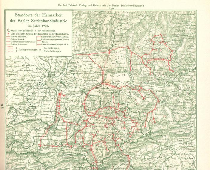 """Dr. Emil Thürkauf: Karte aus der Dissertation """"Verlag und Heimarbeit in der Basler Seidenbandindustrie"""" (1908)"""