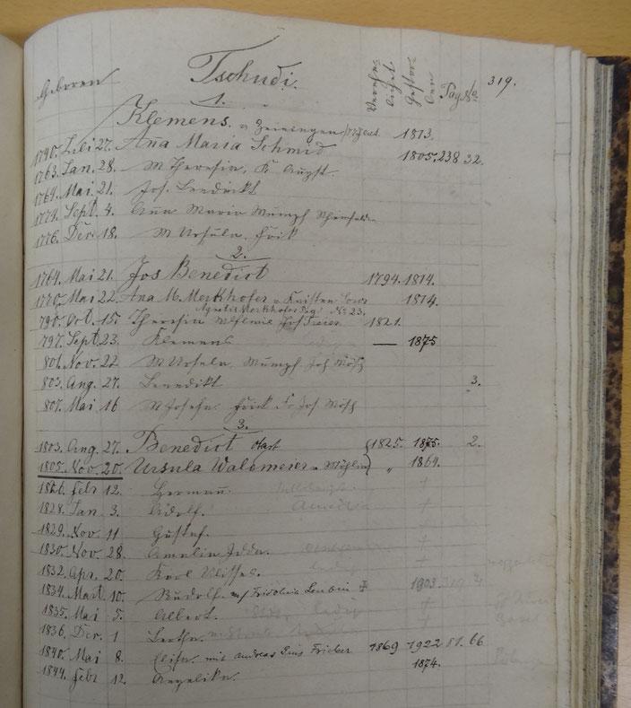 Pfarrarchiv Wittnau: Familienbuch, S.319