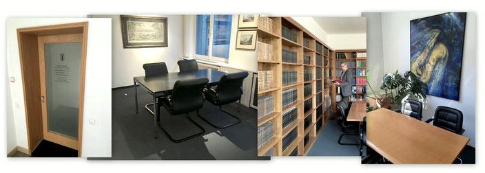 Rechtsanwalt Dr. Holger Bentert, Hohenzollerndamm 124, 14199 Berlin Wilmersdorf Charlottenburg Büroeingang Besprechungstisch Bibliothek Recherche Bild mit Saxophon Collage
