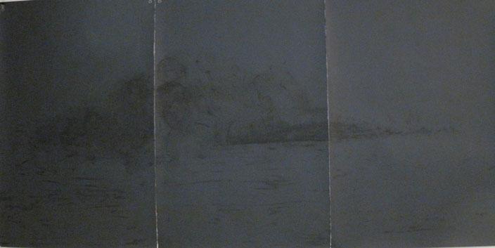 "3 panels 30"" x 22"" each,  black watercolor on black painted paper"