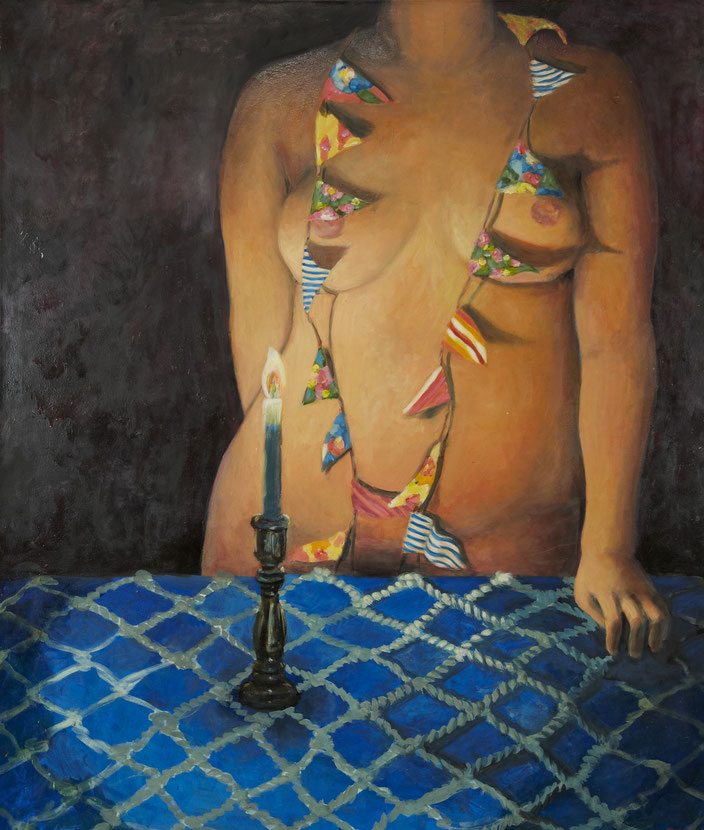 art painting oil painting Gemälde Malerei Tanja Gott pain and paradise, himmel, hölle, fahnen, frau, women, kerze, decke muster, seil, leben