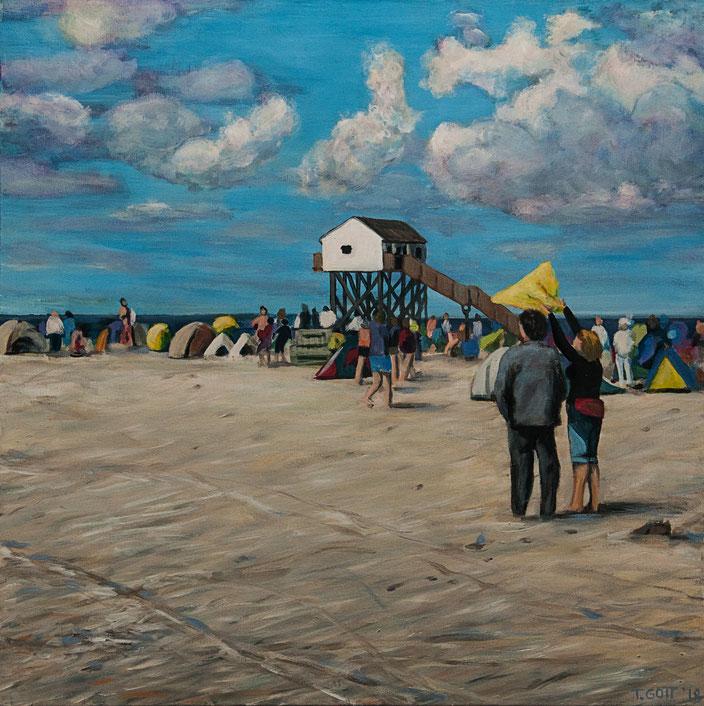 gemälde, acryl painting, malerei, tanja gott, port, harbor, boat, boot, schiff, küste, mixed media zelt tent beach strand sand