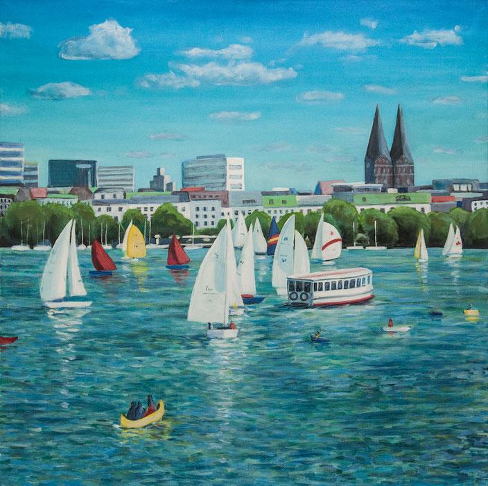 gemälde, acryl painting, malerei, tanja gott, port, harbor, boat, boot, schiff, küste, mixed media
