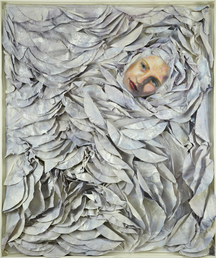 art painting oil painting Gemälde Malerei Tanja Gott pain and paradise, himmel, hölle, collage, weiß, frau, women, vorhang, curtain