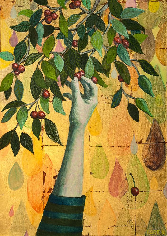 gemälde, malerei, tanja gott, garden, holy, gold, gold painting, grapes, trauben, garten, pflanzen, hand, pflücken, kirschen, tropfen, rain