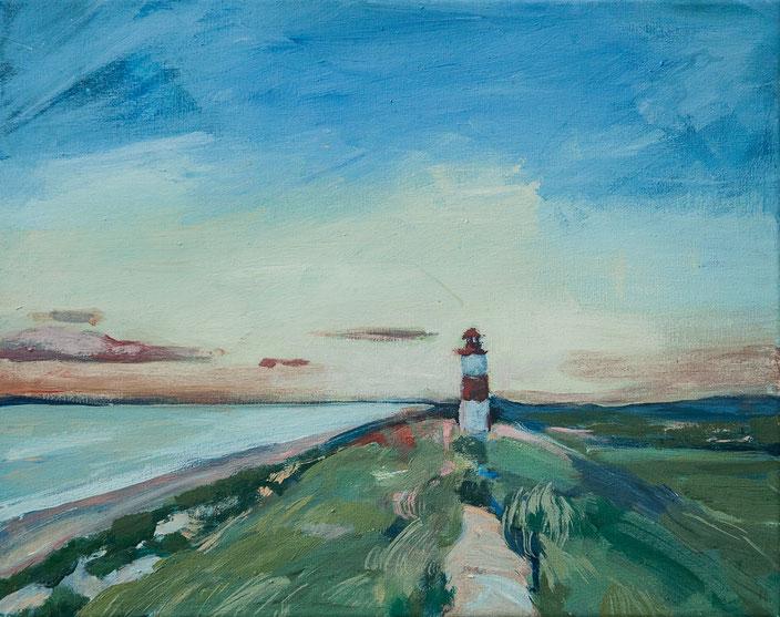 gemälde, acryl painting, malerei, tanja gott, port, harbor, boat, boot, schiff, küste, mixed media, leuchtturm, strand, sunset, sonneuntergang