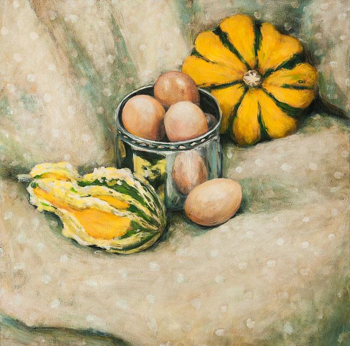 leuchtendes Stillleben mit ei, eier, kürbis, gelb, grün muster, decke spiegelung zeitgenössische Malerei, painting, acryl