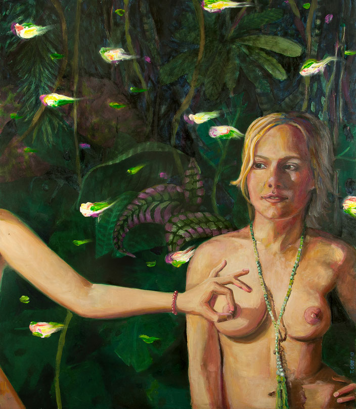 art painting oil painting Gemälde Malerei Tanja Gott pain and paradise, himmel, hölle, fau woman, eva, natur, breast, brust, kette fisch