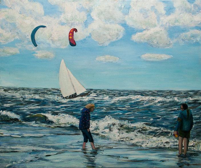 gemälde, acryl painting, malerei, tanja gott, port, harbor, boat, boot, schiff, küste, mixed media, beach, waves wellen drachen