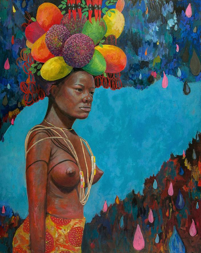 gemälde, malerei, tanja gott, garden, holy, gold, gold painting, women frau, obst, hut, ketten garten, pflanzen