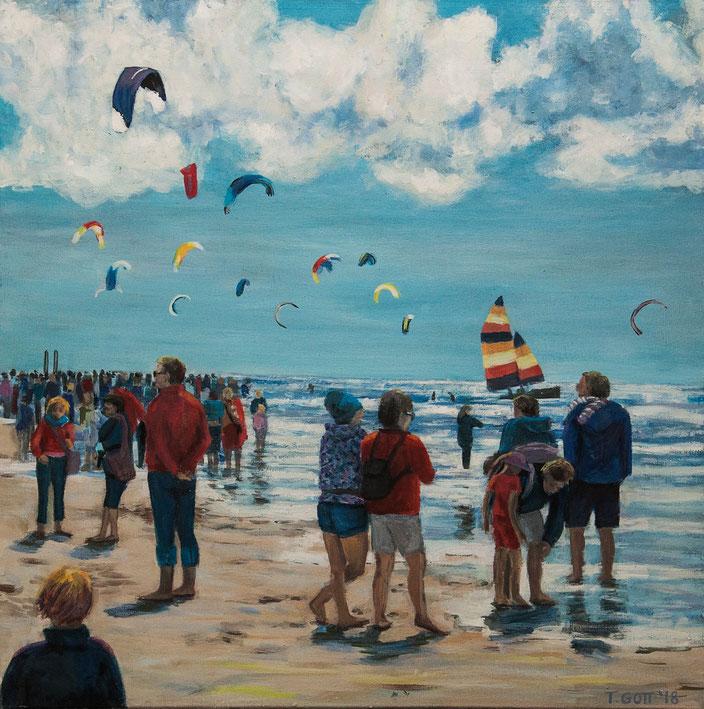 gemälde, acryl painting, malerei, tanja gott, port, harbor, boat, boot, schiff, küste, mixed media, drachen, strand, beach