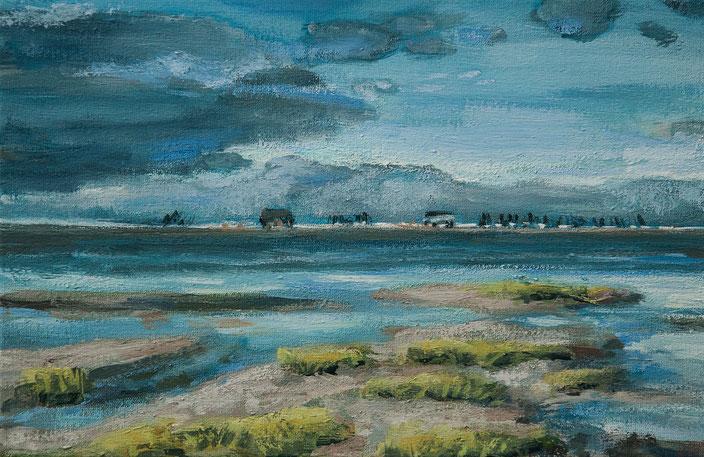 gemälde, acryl painting, malerei, tanja gott, port, harbor, boat, boot, schiff, küste, mixed media, strand, himmel, meer, sea, sunset, sunrise, watt