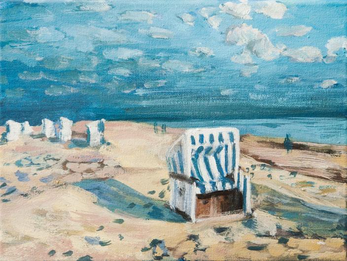 gemälde, acryl painting, malerei, tanja gott, port, harbor, boat, boot, schiff, küste, mixed media, strand strandkorb