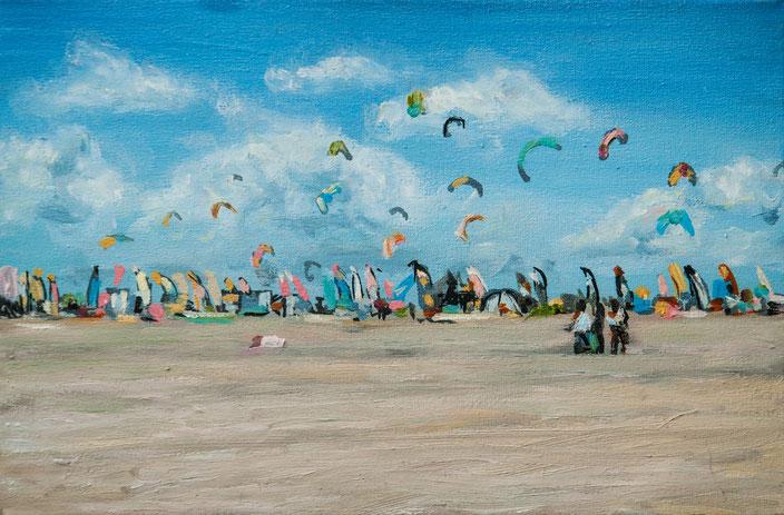 gemälde, acryl painting, malerei, tanja gott, port, harbor, boat, boot, schiff, küste, mixed media, strand, himmel, meer, sea, drachen