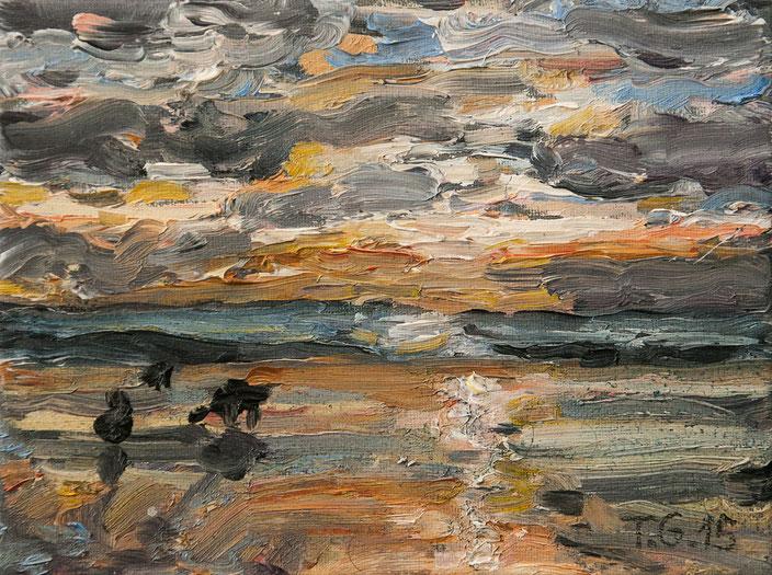 gemälde, acryl painting, malerei, tanja gott, port, harbor, boat, boot, schiff, küste, mixed media, strand, himmel, meer, sea, sunset, sunrise