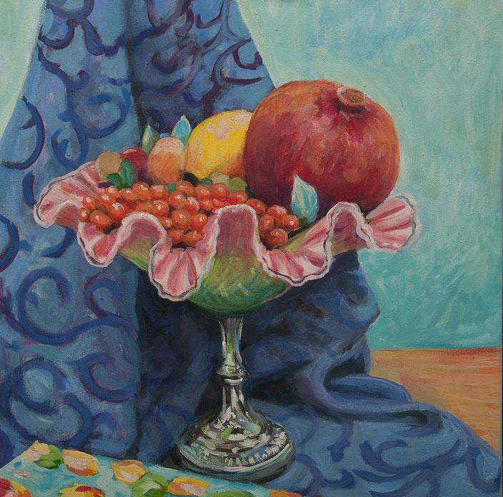 leuchtendes Stillleben mit schale, obst, zitrone, beeren, apfel, granatapfel, decke, spiegelung zeitgenössische Malerei, painting, acryl