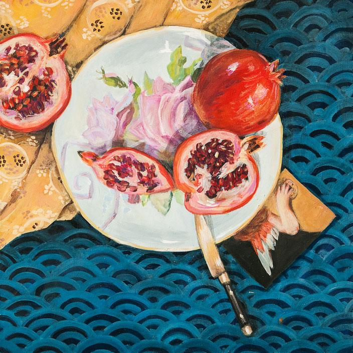 leuchtendes Stillleben mit granatapfel, messer, geschirr, decke, muster, engel spiegelung zeitgenössische Malerei, painting, acryl