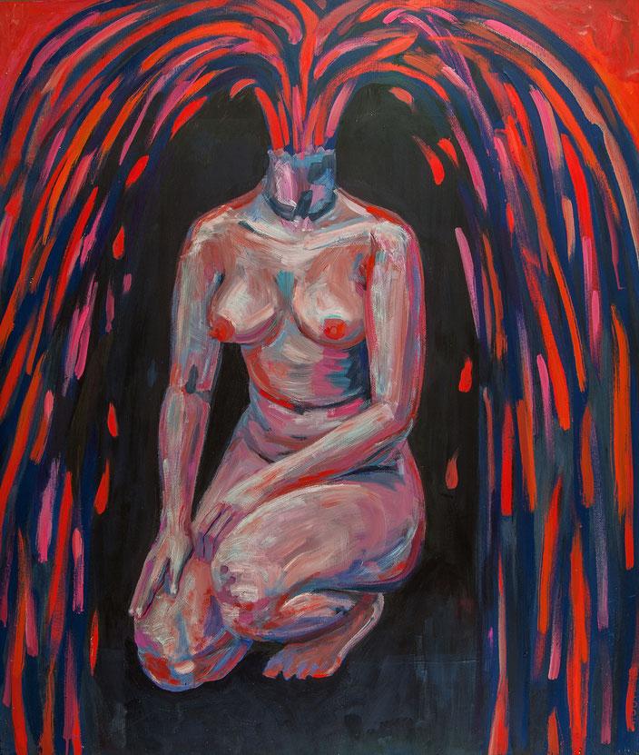 art painting oil painting Gemälde Malerei Tanja Gott pain and paradise, himmel, hölle, fau woman, vulva blood blut nude