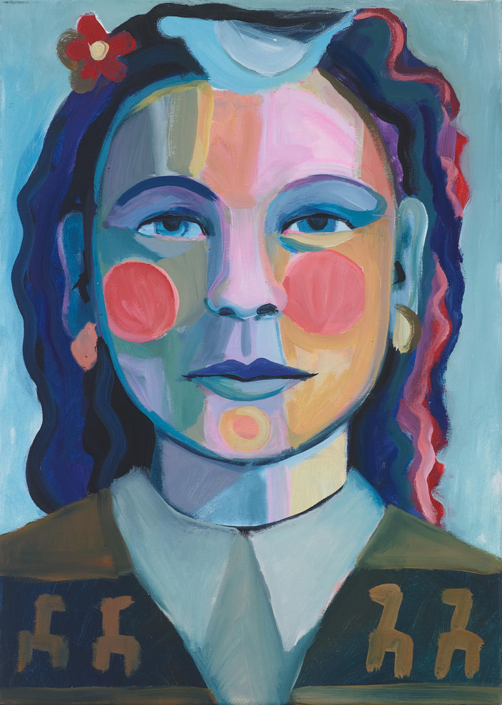art painting oil painting Gemälde Malerei Tanja Gott pain and paradise, himmel, hölle, frau, women, bunt, gesicht, portrait, kragen, blume flower